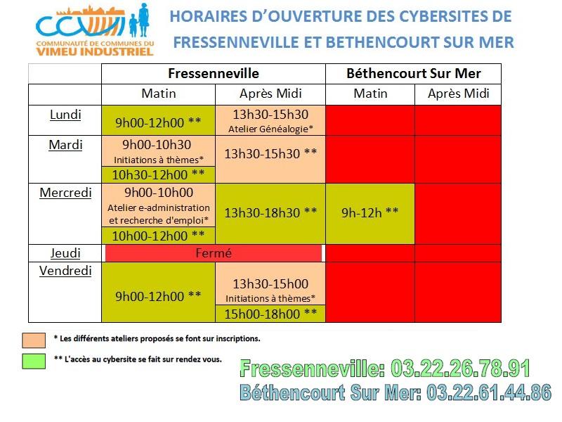 horaires cybersites mis à jour le 22042016